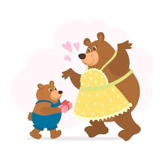 母の日カード。その赤ちゃんとかわいいクマ