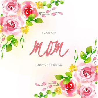 母の日お祝い花柄