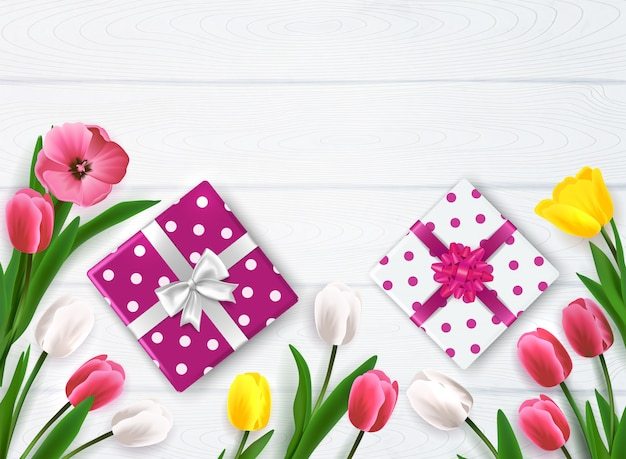 Mother's day composition with top view of polka-dot gift boxes and flowers on wooden background vector illustration