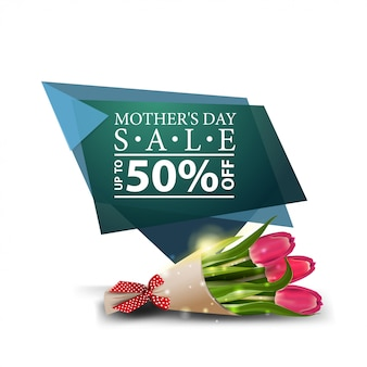Mother's day discount modern banner with bouquet of tulips
