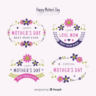 Mother's day floral frames label collection