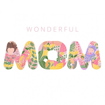 Mother's day forest themed typography character mom with baby