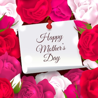 Mother's day frame composition of paper with place for editable ornate text surrounded by rose flowers vector illustration
