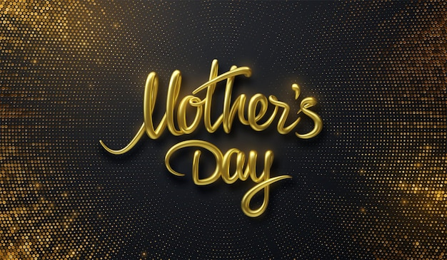 Золотой знак дня матери на черном фоне с разрывающимися блестками
