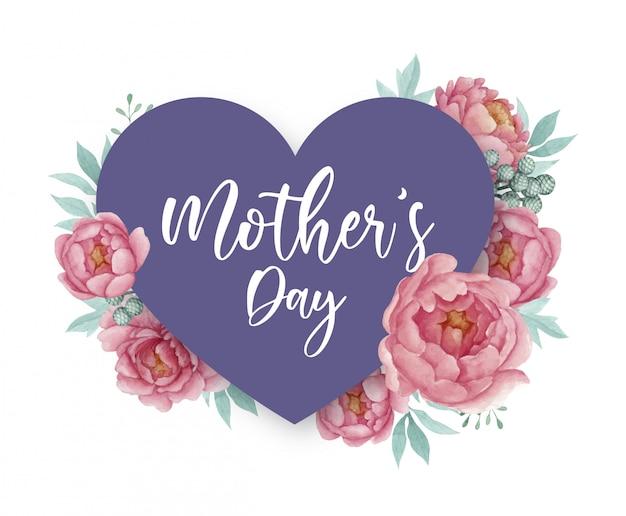 Дизайн поздравительной открытки ко дню матери с сердечком и лиловыми пионами
