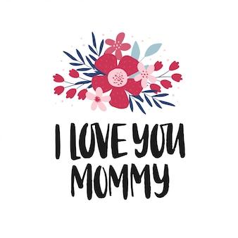 Поздравительная открытка дня матери. ручной обращается вектор кисти надписи с букетом цветов.