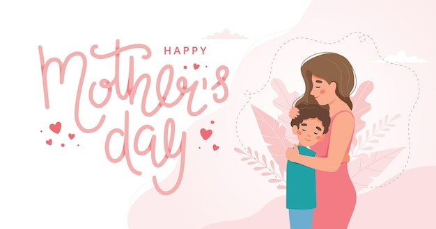 Mother s day greeting card. mother and child hugging and lettering. concept in flat style