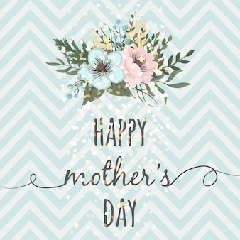Mother's day greeting card with blossom flowers