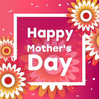 Mother's day greeting card with blossom origami flowers
