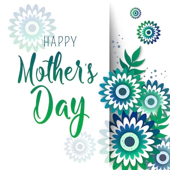 Mother's day greeting card with blossom origami flowers.