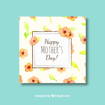 Mother's day greeting card with cute flowers