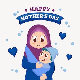 Mother's day greeting card with cute illustration
