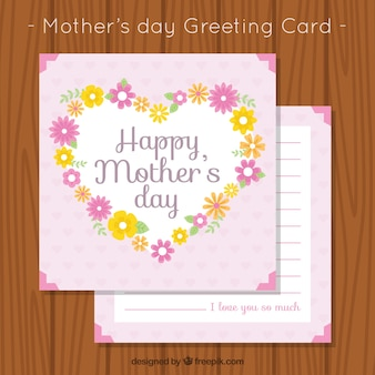 Mother's day greeting card with floral heart