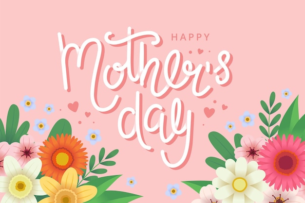 꽃과 글자와 어머니의 날 인사말 카드.