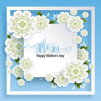 Mother's day greeting card with gold paper cut art craft style on color background for greetings card, invitation.
