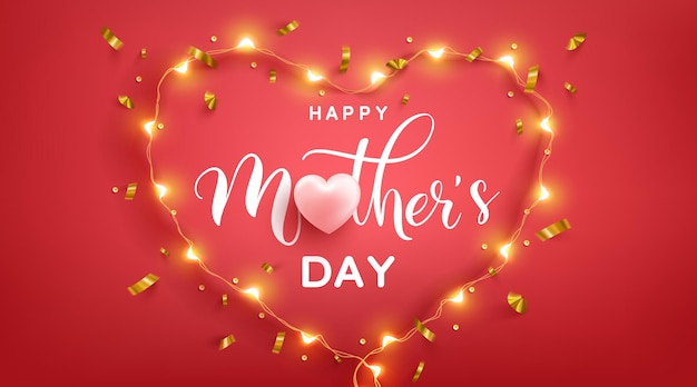 Mother's day greeting card with love heart and symbol of heart from led lights on pred