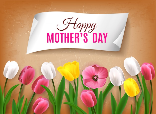 Mother's day greeting card with realistic images of colorful flowers with green stems leaves