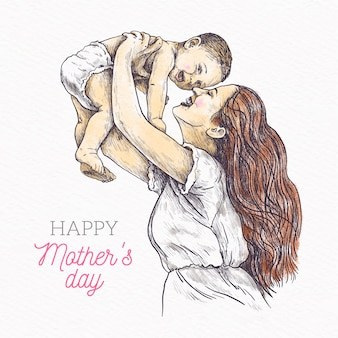 Mother's day hand drawn design