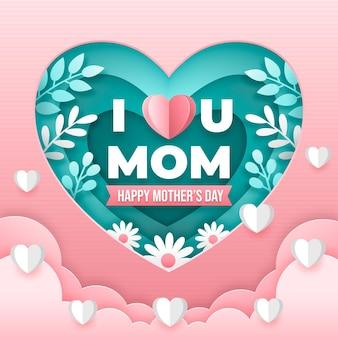 종이 스타일의 어머니의 날 그림