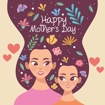 엄마와 딸과 함께 어머니의 날 그림