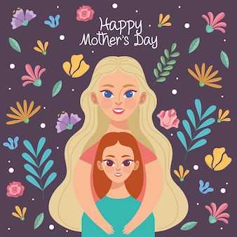 Mother's day illustration with mom and daughters