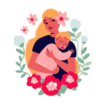 Mother's day illustration with pretty mom with baby surrounded by leaves and flowers