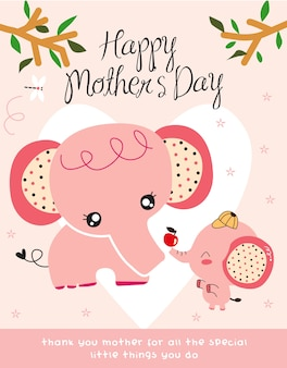 Mother's day in cartoon stlye cute elephant