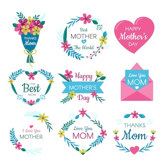 Mother's day labels and wreaths