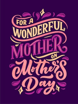 Mother's day lettering for gift card.