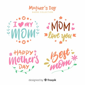 Mother's day lettering label collection