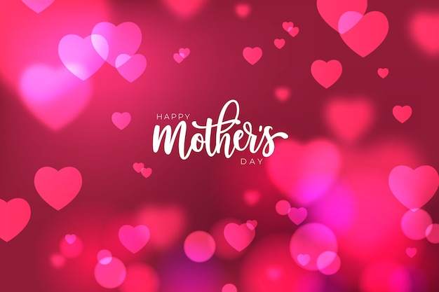 Mother's day lettering with blurred hearts