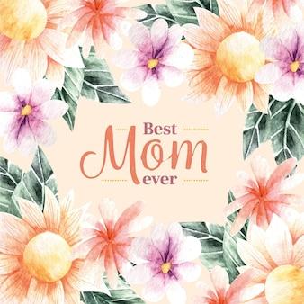 꽃 일러스트와 함께 어머니의 날 글자