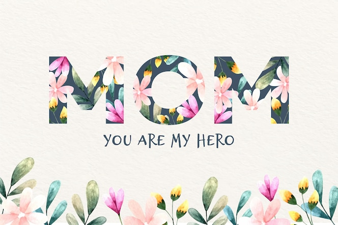 Mother's day lettering with flowers