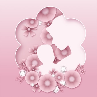 Mother's day, mother holding baby, cute floral background