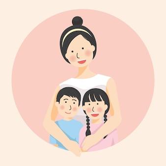母の日母の抱擁娘と息子のポーズ、家族の抱擁、母の日