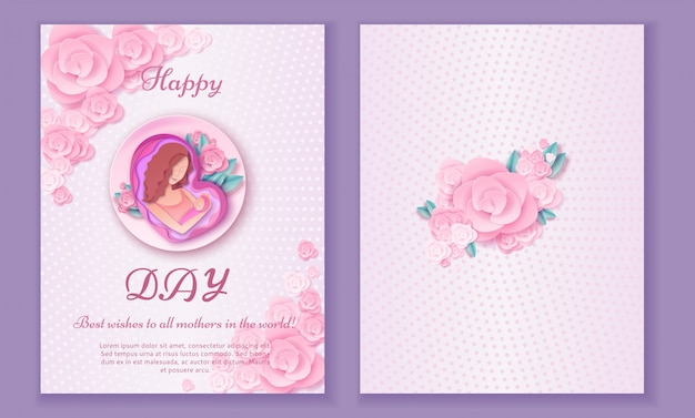 Mother's day origami paper art greeting card