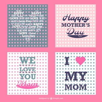 Mother's day polka dots cards set