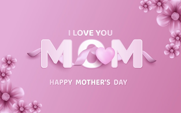 Mother's day poster or banner with sweet hearts and flower pink background.