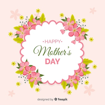 Mother's day realistic floral frame background