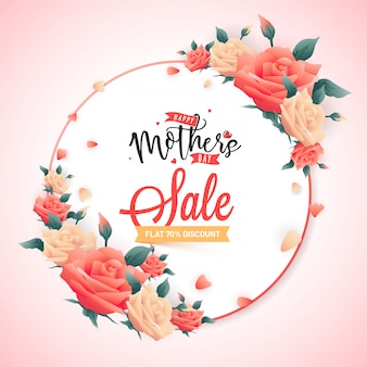 Mother's day sale banner design, with stylish text deocrated with beautiful flowers.