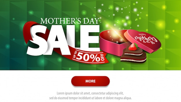 Mother's day sale green discount banner with button