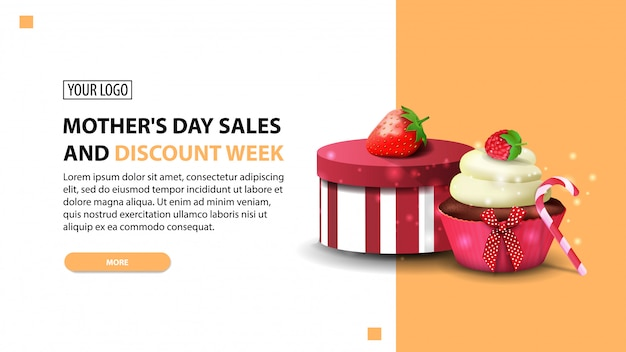 Mother's day sales and discount week, modern horizontal discount banner