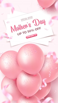 Mother's day special offer vertical banner. 50 percent off sale poster design with white sheets, bunch of pink balloons, falling confetti on rosy background. mothers day template.