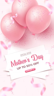 Mother's day special offer vertical banner. 50 percent off sale poster design with white sheets, pink air balloons, falling foil confetti on rosy background. mothers day template.