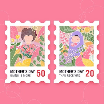Mother's day stamp with baby at forest themed postcard
