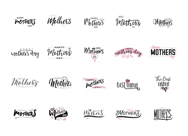 Mother's day stickers set