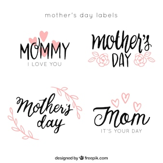 Mother's day stickers with calligraphic letters