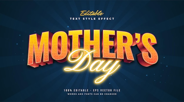 Mother's day text in orange with retro and neon style. editable text style effect