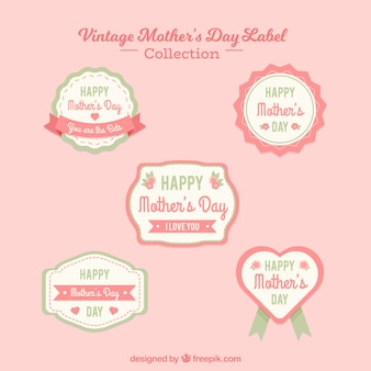 Mother's day vintage badge collection