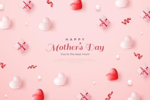 День матери с разбросанными воздушными шарами и подарочными коробками.